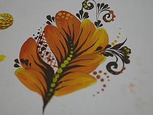 Рисуем кистью из кошачьей шерсти и прописываем листик. Ярмарка Мастеров - ручная работа, handmade.