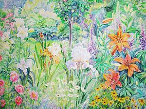 Прекрасный сад - панно, написанное по вдохновению от работы неизвестного художника 18 века. | Ярмарка Мастеров - ручная работа, handmade