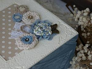 Декорирование шкатулки а-ля Бохо (имитация джинсы и белой тиснёной кожи). Ярмарка Мастеров - ручная работа, handmade.