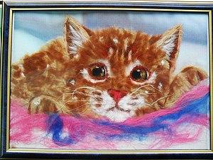"""Картина из шерсти """"Котенок"""". Ярмарка Мастеров - ручная работа, handmade."""
