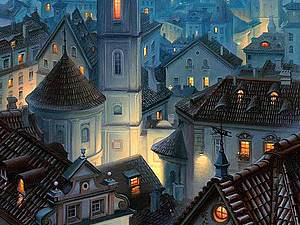 Сумерки над городом | Ярмарка Мастеров - ручная работа, handmade