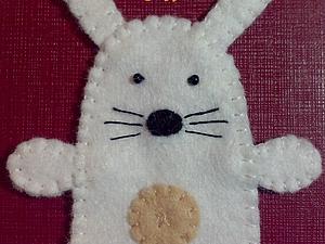 Зайка-Попрыгайка из фетра для пальчикового театра | Ярмарка Мастеров - ручная работа, handmade