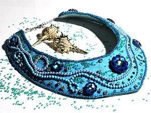 Создаем колье «Голубая лагуна»: работаем с люневильским крючком. Ярмарка Мастеров - ручная работа, handmade.