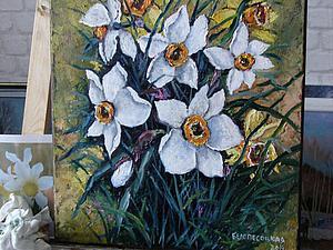Пишем картину маслом «Нарциссы». Ярмарка Мастеров - ручная работа, handmade.