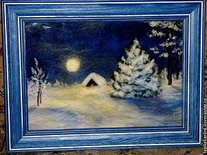 Рисуем шерстью картину «Зимняя ночь» | Ярмарка Мастеров - ручная работа, handmade