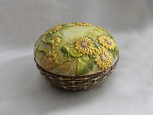 Одуванчики в объемной технике на шкатулке  handmade