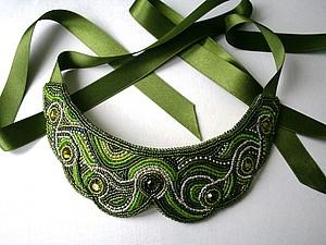 Создаем оригинальный зеленый воротничок на лентах. Ярмарка Мастеров - ручная работа, handmade.