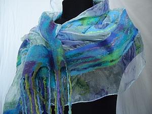 Валяем на шёлке   шарфик | Ярмарка Мастеров - ручная работа, handmade