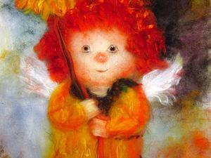 Мастер-класс по картинам из шерсти  - Йорк, Ангел с подсолнухом и мышкой | Ярмарка Мастеров - ручная работа, handmade