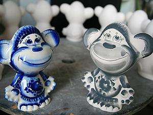 Роспись обезьянки кобальтом в стиле гжель. Ярмарка Мастеров - ручная работа, handmade.