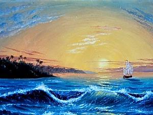 Видеоурок: рисуем тропический остров. Ярмарка Мастеров - ручная работа, handmade.