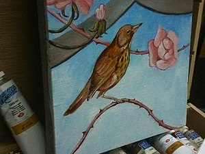 Рисуем птичку масляными красками. Ярмарка Мастеров - ручная работа, handmade.