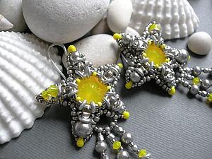 """Создаем объемные серьги """"Звезда моря"""" из бисера и бусин. Ярмарка Мастеров - ручная работа, handmade."""