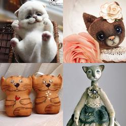 Очаровательные игрушечные кошки, коты и котята