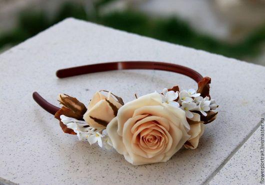 Заколки ручной работы. Ярмарка Мастеров - ручная работа. Купить Ободок с розами и сиренью. Handmade. Бежевый, цветы ручной работы