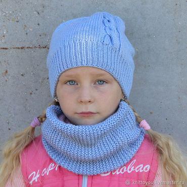 Works for children handmade. Livemaster - original item Knit kit Pigtail cap and Snood in one revolution grey blue. Handmade.