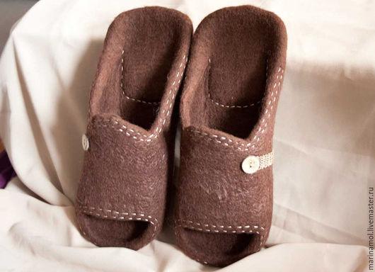 """Обувь ручной работы. Ярмарка Мастеров - ручная работа. Купить Мужские валяные тапки """"Шоколад"""". Handmade. Коричневый, тапочки из войлока"""