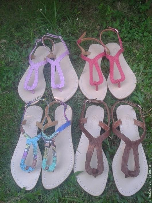 Обувь ручной работы. Ярмарка Мастеров - ручная работа. Купить Сандалии из питона. Handmade. Розовый, сандалии из питона