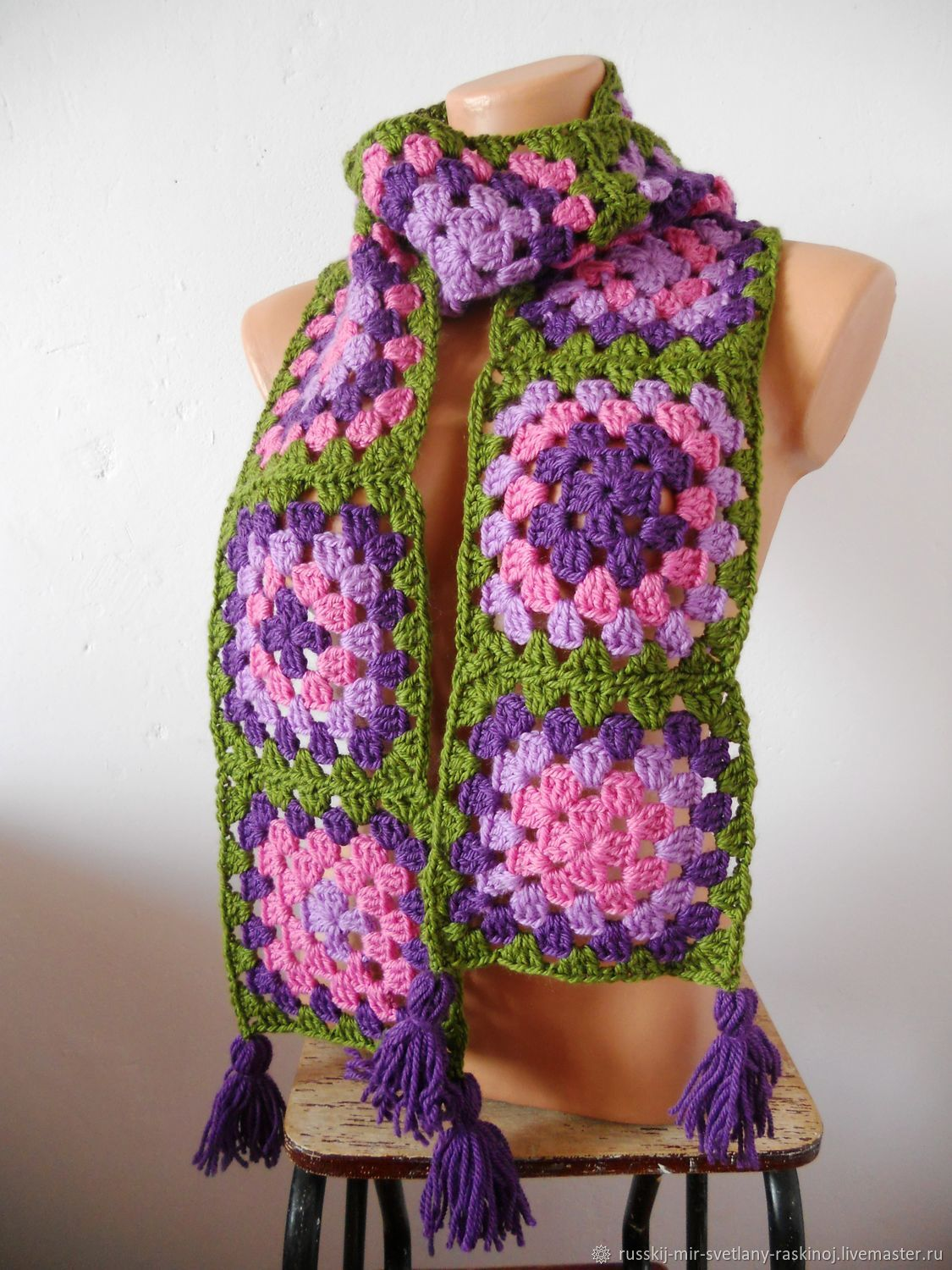 Long bright scarf for spring 2021 creative knitting Fuchsia and blackberry, Scarves, Permian,  Фото №1
