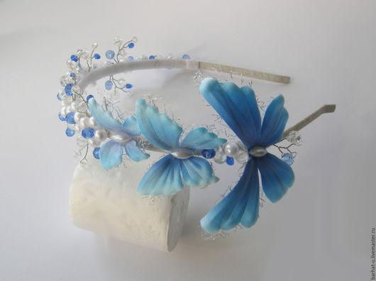 """Диадемы, обручи ручной работы. Ярмарка Мастеров - ручная работа. Купить Диадема """"Бабочки"""". Handmade. Синий, бабочки, ободок для волос"""