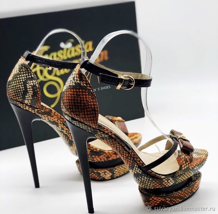 Women's sandals made of genuine Python leather, Slingbacks, Barnaul,  Фото №1
