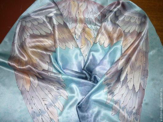 """Шарфы и шарфики ручной работы. Ярмарка Мастеров - ручная работа. Купить """"Крылья"""", батик , шарф, 142-42см.Натуральный шёлк, атлас.Купить.. Handmade."""