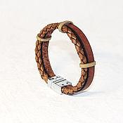 Украшения ручной работы. Ярмарка Мастеров - ручная работа мужской плетеный браслет из кожи. Handmade.