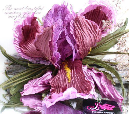 Броши ручной работы. Ярмарка Мастеров - ручная работа. Купить Цветы из ткани. Ирис. Handmade. Розовый, ирис из ткани