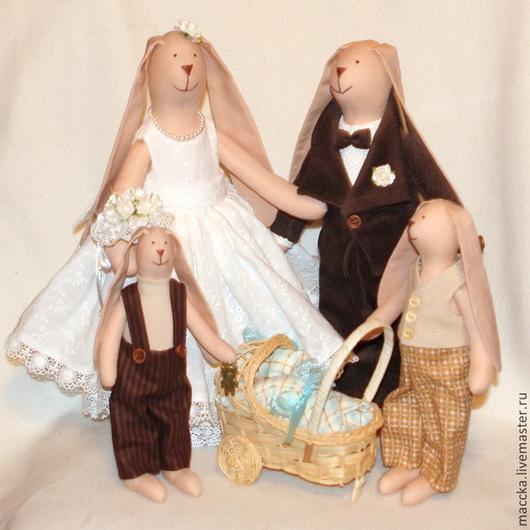 Куклы Тильды ручной работы. Ярмарка Мастеров - ручная работа. Купить Счастливая семья. Зайки в стиле Тильда. Handmade.