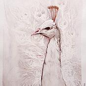 Картины и панно handmade. Livemaster - original item White peacock watercolor painting. Handmade.