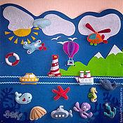 Куклы и игрушки ручной работы. Ярмарка Мастеров - ручная работа Морское панно с игрушками на липучках из фетра на стену для детей. Handmade.
