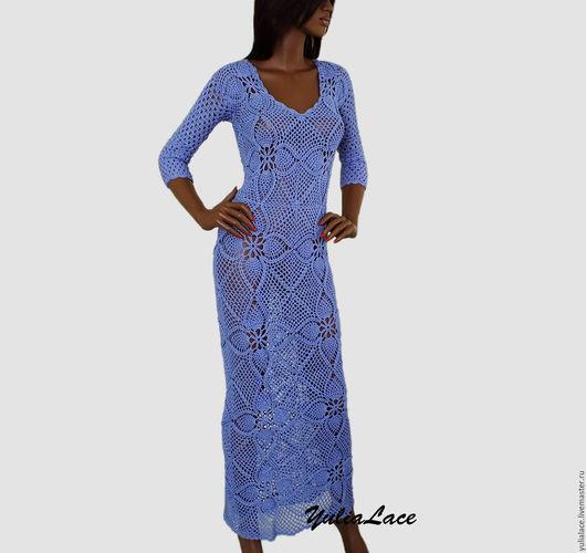 Платья ручной работы. Ярмарка Мастеров - ручная работа. Купить Вязаное платье. Handmade. Голубой, платье вязаное, вязаное платье