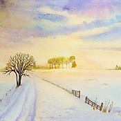 """Картины и панно ручной работы. Ярмарка Мастеров - ручная работа Акварель """"Восход солнца зимой"""". Handmade."""