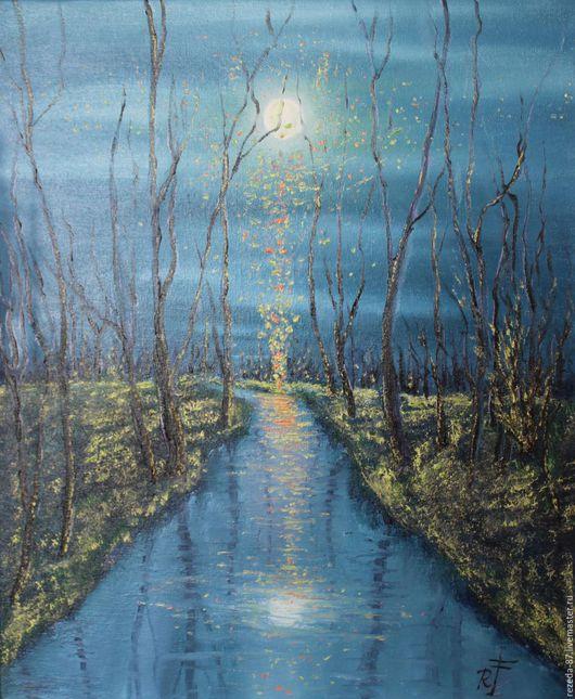 Фэнтези ручной работы. Ярмарка Мастеров - ручная работа. Купить Картина маслом мистический лес ночью. Handmade. Серый