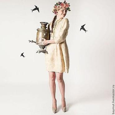 """Одежда ручной работы. Ярмарка Мастеров - ручная работа Валяное платье """"Бежевый бархат"""". Handmade."""