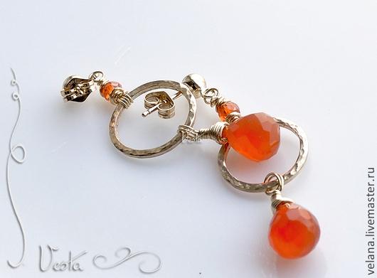 """Серьги ручной работы. Ярмарка Мастеров - ручная работа. Купить Серьги """"Оранж"""" наполненное золото, циркон, сердолик. Handmade."""