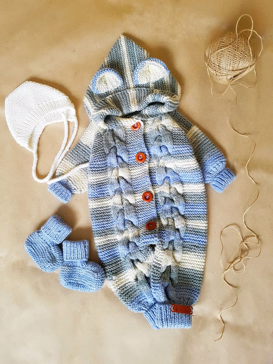 Baby knitted jumpsuit set newborn baby girl boy, Overall for children, Zhukovsky,  Фото №1