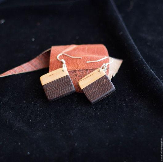 Серьги ручной работы. Ярмарка Мастеров - ручная работа. Купить Серьги сделанные вручную  из Венге и Карельской березы. Handmade. Коричневый