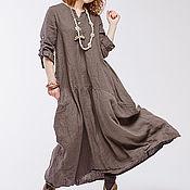 Одежда ручной работы. Ярмарка Мастеров - ручная работа Бохо платье льняное 4-13 умбра. Handmade.