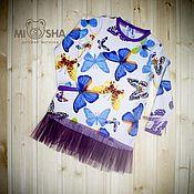 Работы для детей, ручной работы. Ярмарка Мастеров - ручная работа Платье-туника с бабочками. Handmade.