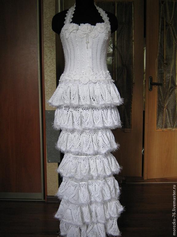Вязаное платье крючком свадебное платье