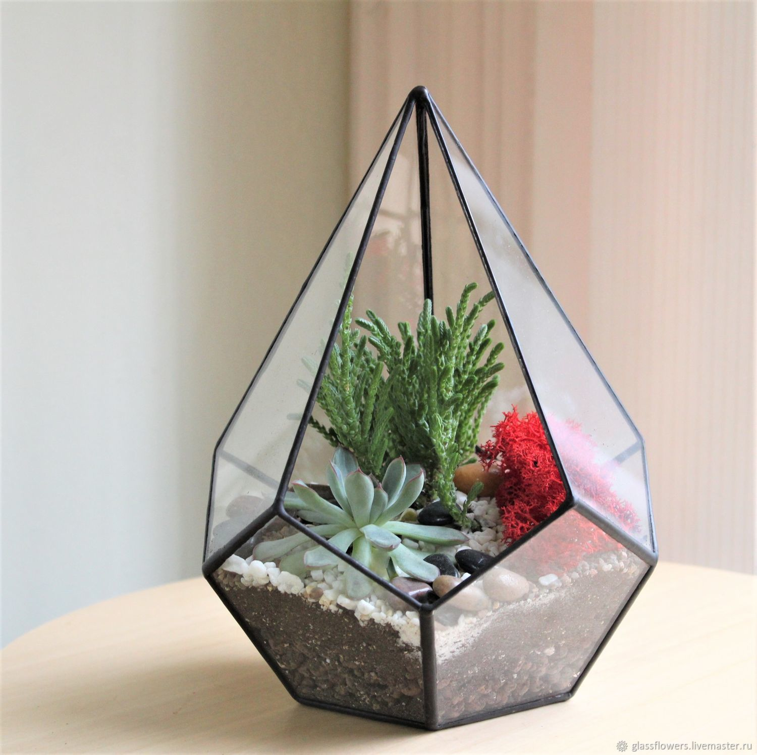 Florarium Drop with succulents and moss, height 22 cm, Florariums, St. Petersburg,  Фото №1