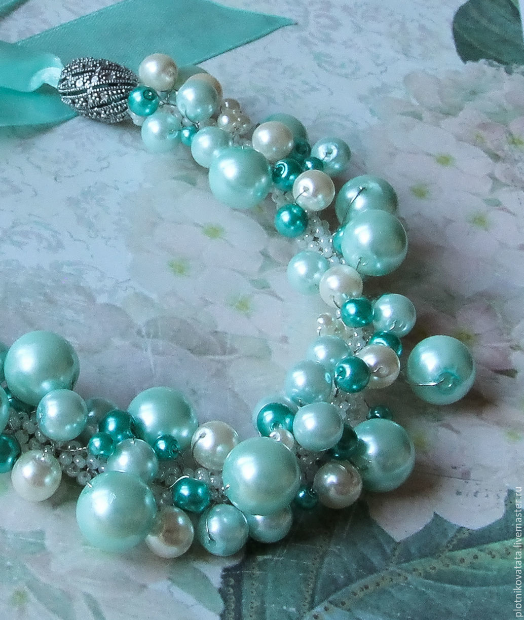 Mint-a cool necklace with a pearl, Necklace, St. Petersburg,  Фото №1
