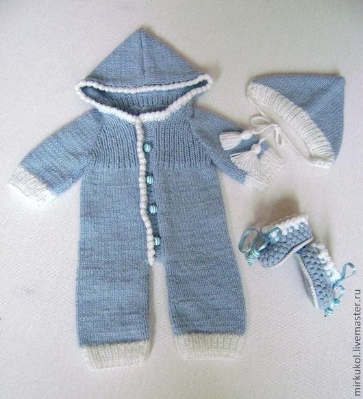 Одежда для кукол ручной работы. Ярмарка Мастеров - ручная работа. Купить Комбинезон вязаный, пинетки, чепчик (шапочка). Handmade. Голубой