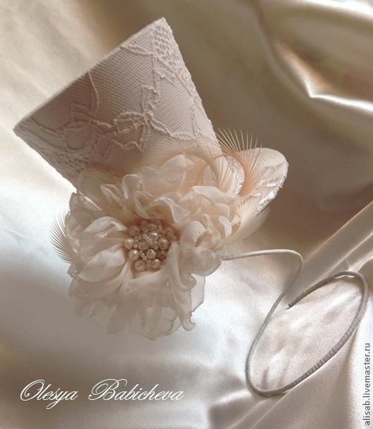"""Шляпы ручной работы. Ярмарка Мастеров - ручная работа. Купить Цилиндрик для невесты """"Ваниль"""". Handmade. Кремовый, свадебная шляпка"""