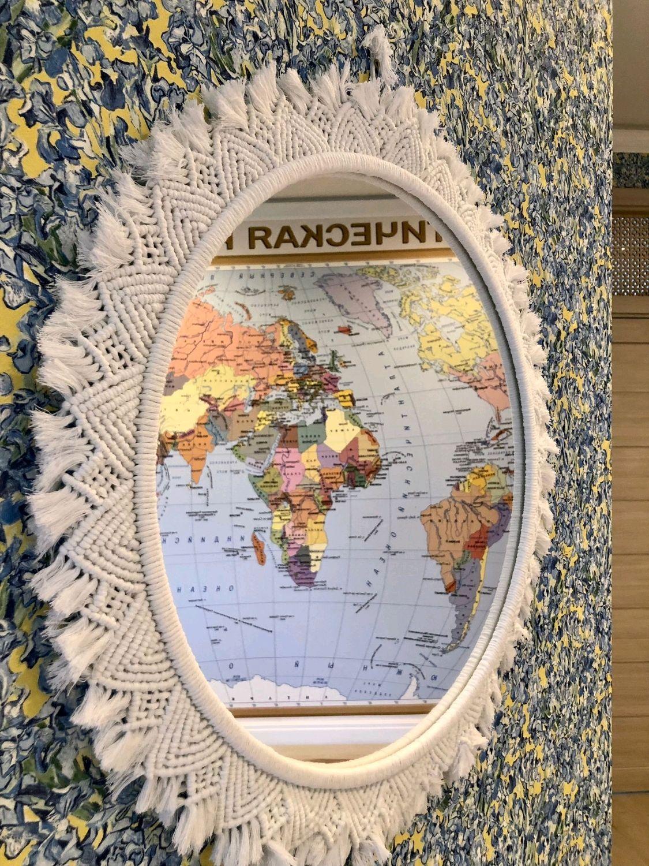 Зеркало декоративно настенное. Рама в технике макраме, Зеркала, Москва,  Фото №1