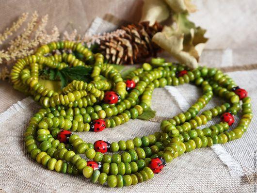 Колье, бусы ручной работы. Ярмарка Мастеров - ручная работа. Купить Комплект Зеленый горошек (колье + браслет). Handmade.