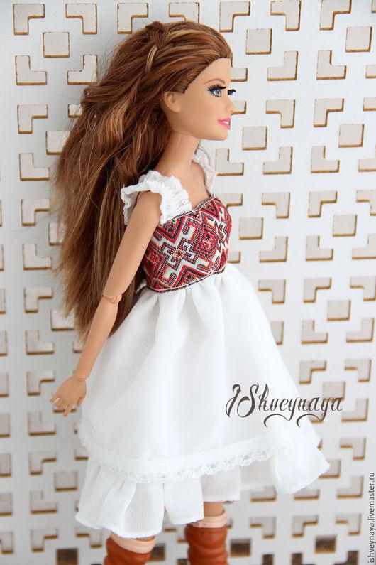 "Одежда для кукол ручной работы. Ярмарка Мастеров - ручная работа. Купить Платье-сарафан для куклы ""Country"". Handmade. Белый, сарафан"