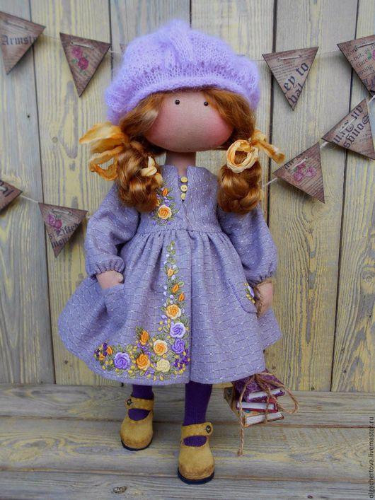 Коллекционные куклы ручной работы. Ярмарка Мастеров - ручная работа. Купить Малышка в пальтишке (рыжуля). Handmade. Сиреневый, кукла текстильная