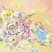 Картины и панно handmade. Livemaster - original item Oil painting on canvas. Peony angels. Handmade.